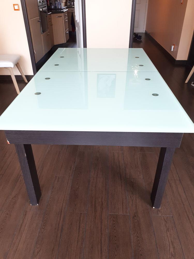 Table à manger bois wengé et plateau de verre 240 Antony (92)