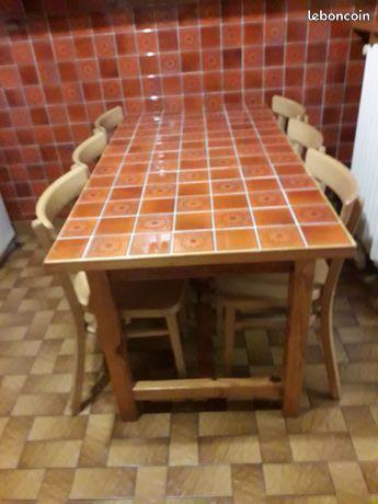 Table à manger carrelée pour cuisine + 6 chaises 45 Châteaubernard (16)