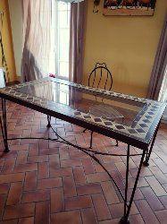 table à manger rectangulaire structure métal forgé stylisé 250 Caugé (27)