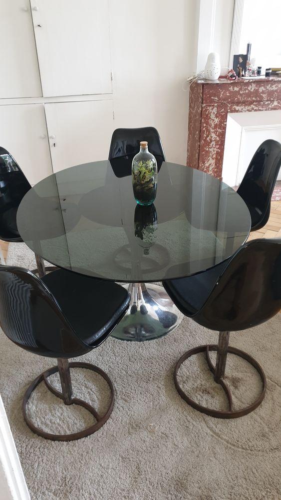 table à manger verre et  chrome +5 chaises  noires laquées  1200 Toulouse (31)