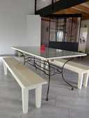 Table pin massif et pieds métal 245 Saint-Léger-sous-Cholet (49)