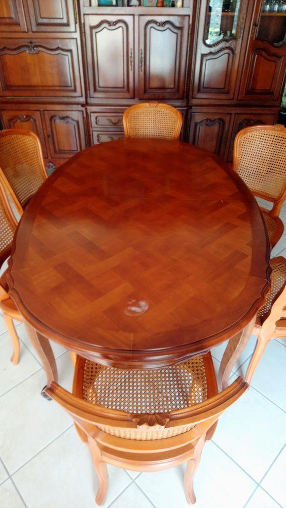 Table ovale allonge centrale merisier Louis XV 200 Carlipa (11)