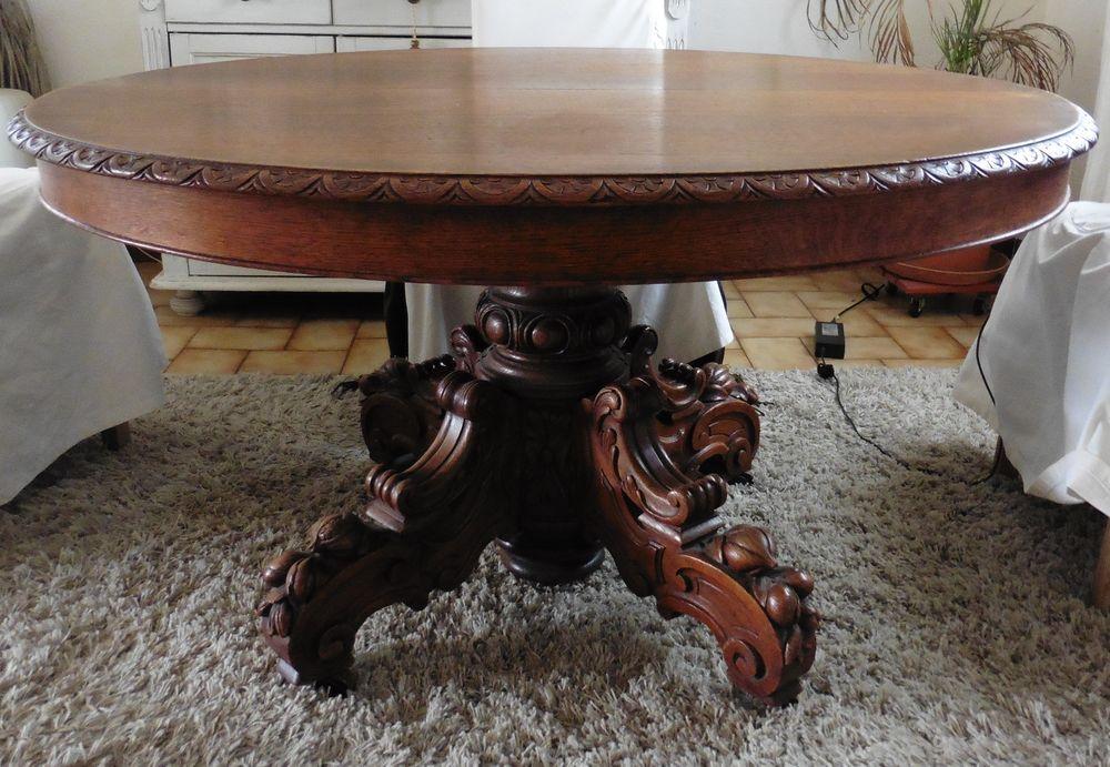 Table ovale en chêne 19° siècle et ses deux rallonges 0 La Destrousse (13)