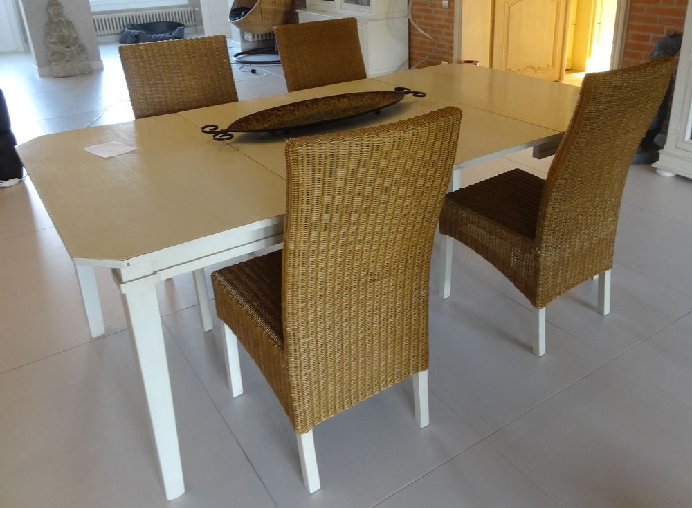 Table Patine Blanc Casse Marque Fontange