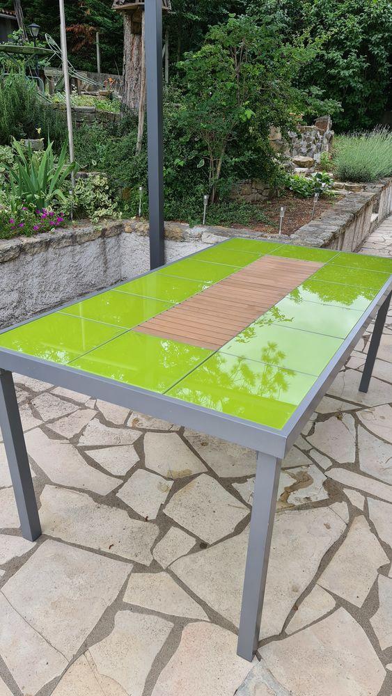 Table en alu, plateau dalles amovibles en verre  trempé 200 Lempdes (63)