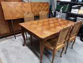 TABLE + 2 RALLONGES + 4 CHAISES MERISIER STYLE REGENCE 850 Carpentras (84)