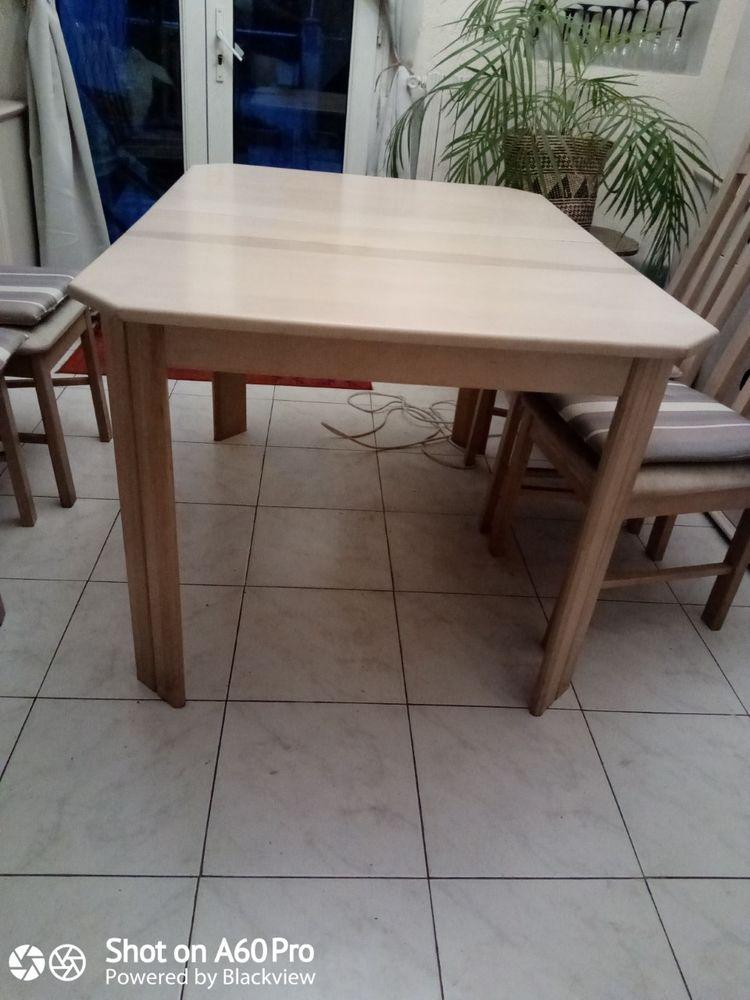 Table rectangulaire en bois clai avec une rallonge centrale  65 Marseille 15 (13)