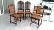 table ronde en bois + rallonges + 5 chaises cannées Meubles