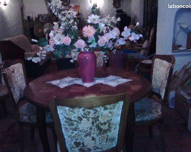 table ronde bois + 6 chaises tapissier 160 Puget-sur-Argens (83)