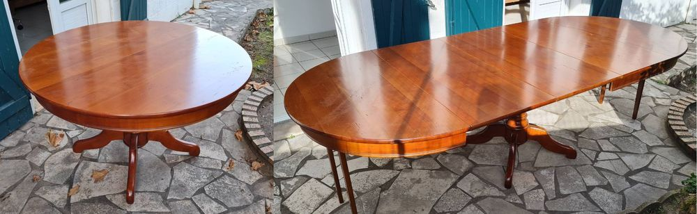 Table ronde merisier style Louis Philippe + 6 chaises 800 Anglet (64)