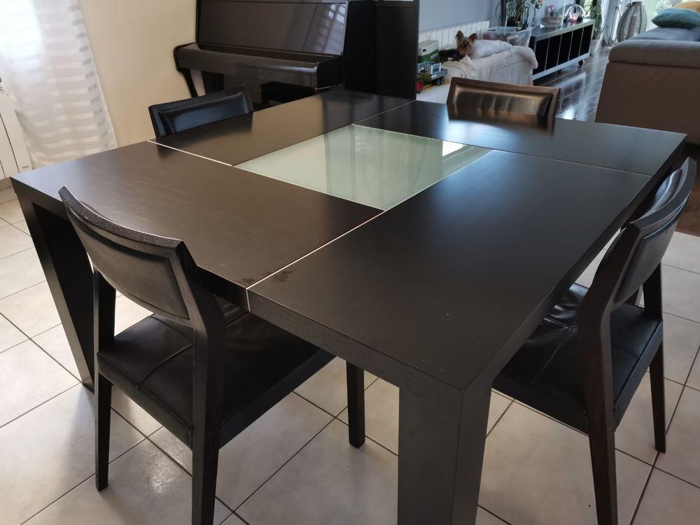 Table salle à manger carré wenge/verre + chaises bois/cuir 350 Nieppe (59)