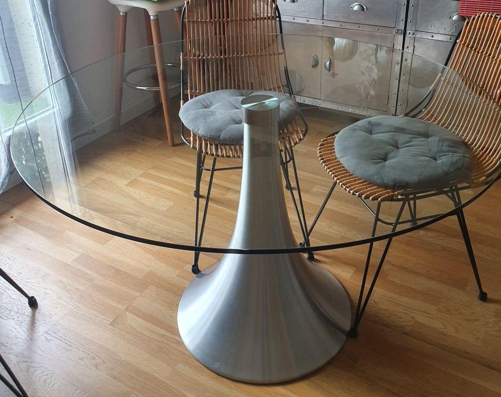 TABLE DE SALLE A MANGER 120CM VERRE PIED ALLU 0 Neuilly-sur-Marne (93)
