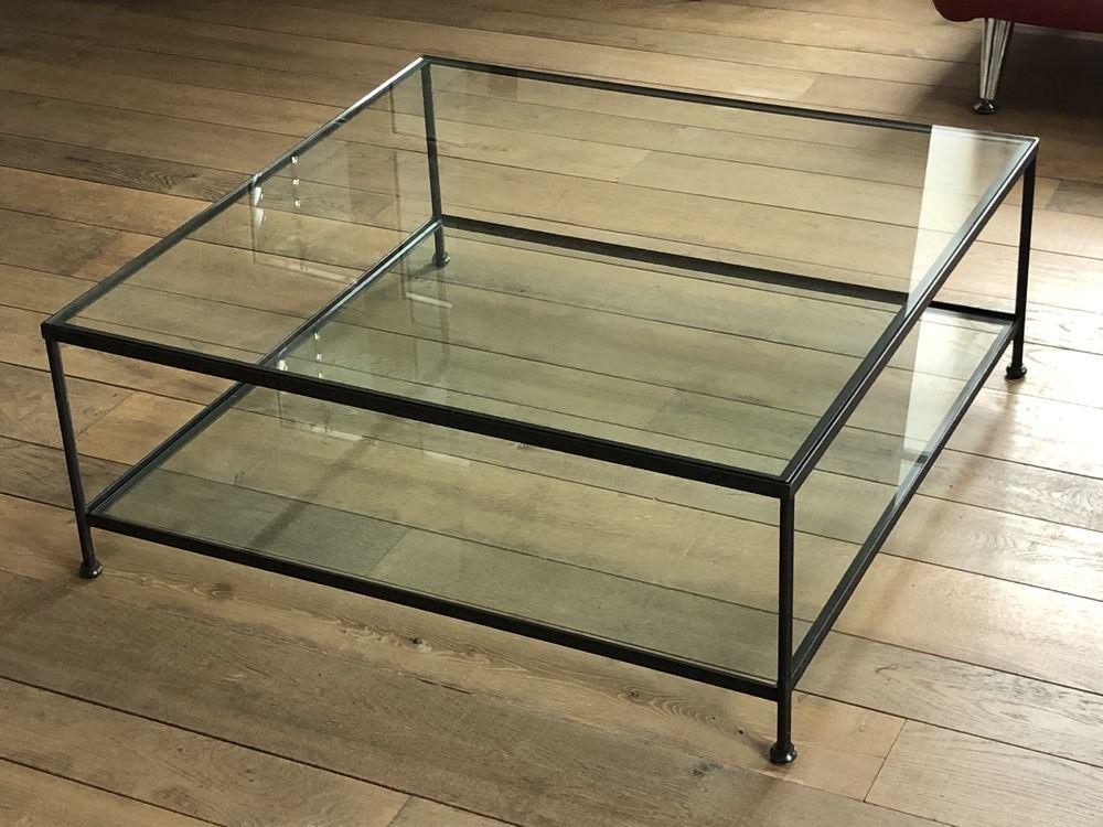 Table de salon carrée 100 cms Design Métal et verre Hauteur  300 Lyon 1 (69)