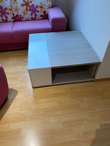 Table de salon carrée couleur blanc et bois ceruse 140 Angicourt (60)