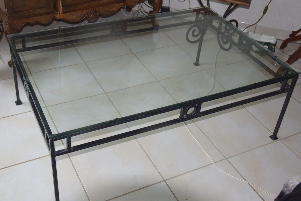 table de salon en fer forgé et verre 130 Capbreton (40)