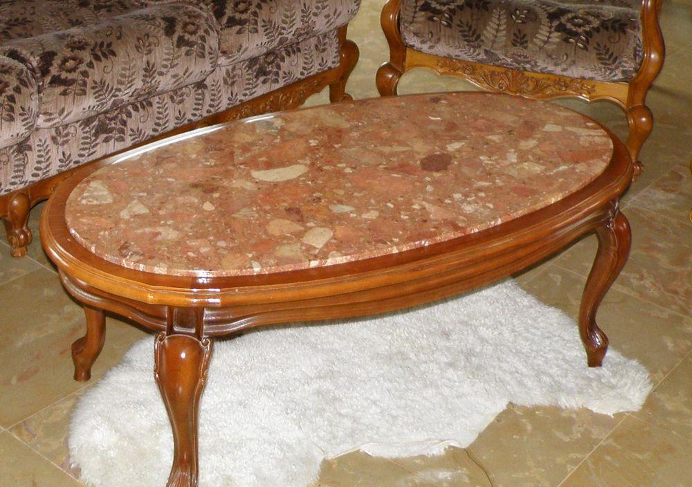 Table Basse Relevable En Hauteur ~ Table Basse De Salon En Merisier Dessus Marbre Parfait ?tat