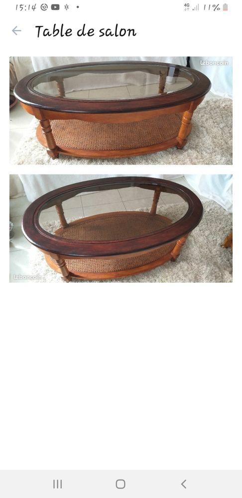 table de salon ovale avec son verre trempé  et biseauté, h 40 l 70 long 110 20 Les Peintures (33)
