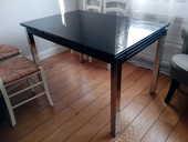 Table salon verre noir avec rallonges TBE 0 Saint-Herblain (44)