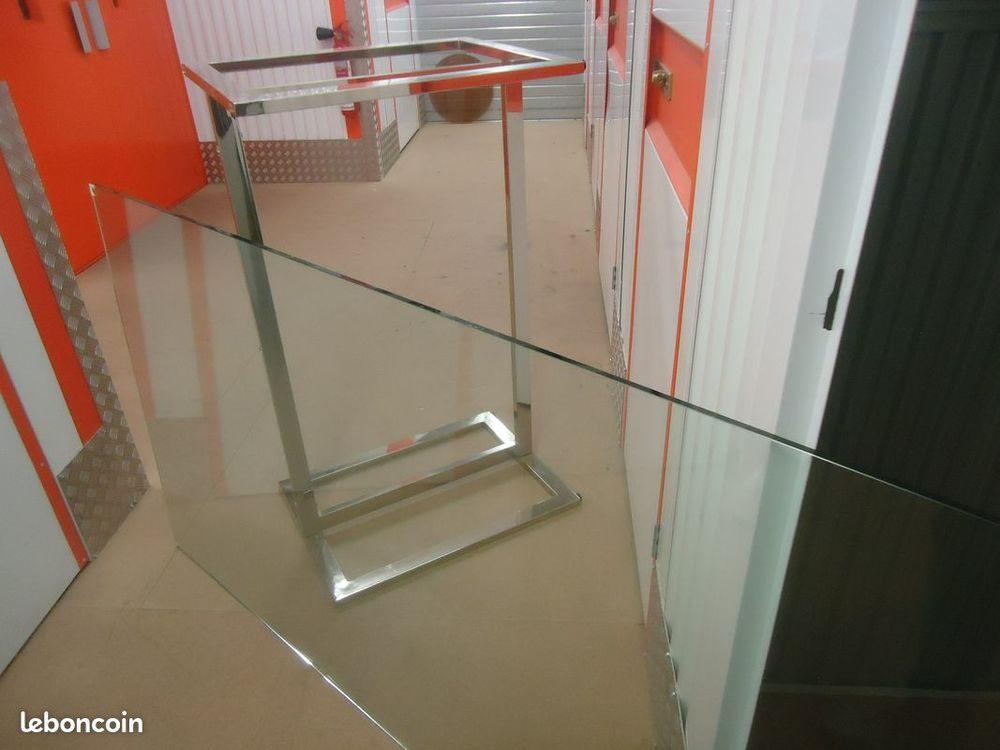 Table de salon en verre transparent 6 couverts rectangulaire 190 Barby (73)