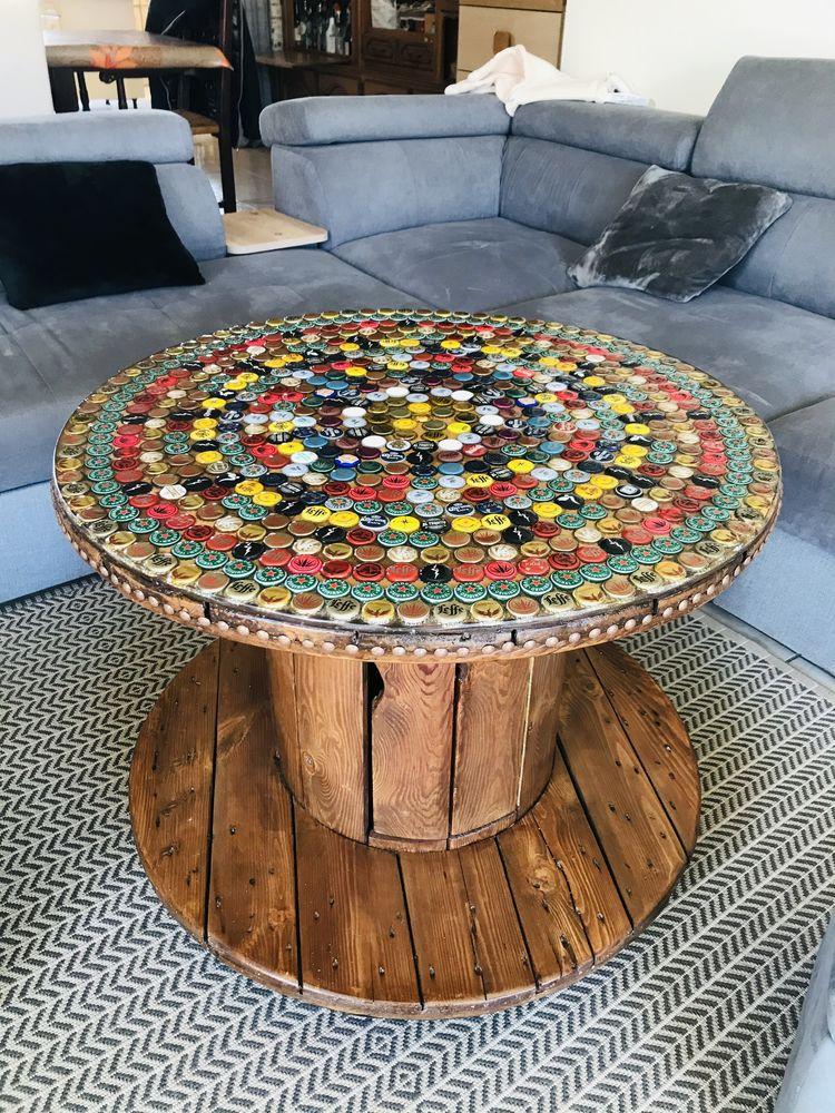 Table bar touret en bois capsules et résine epoxy  400 Moissy-Cramayel (77)