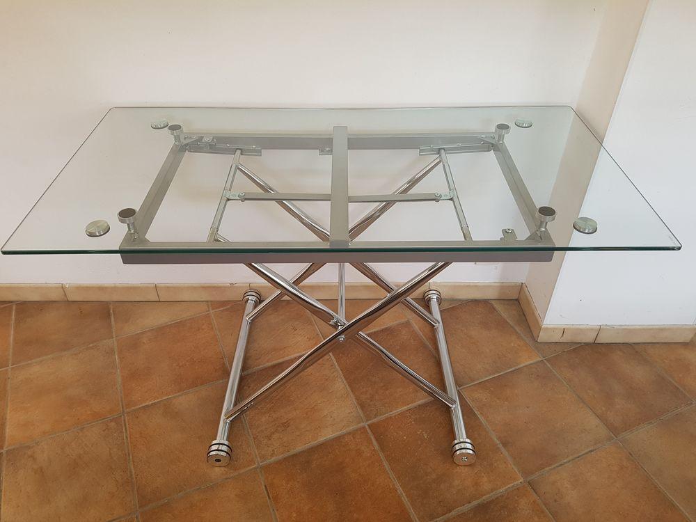 TABLE en VERRE ARMATURE de SUPPORT en MÉTAL LOURD - QUALITÉ  130 Blanzat (63)