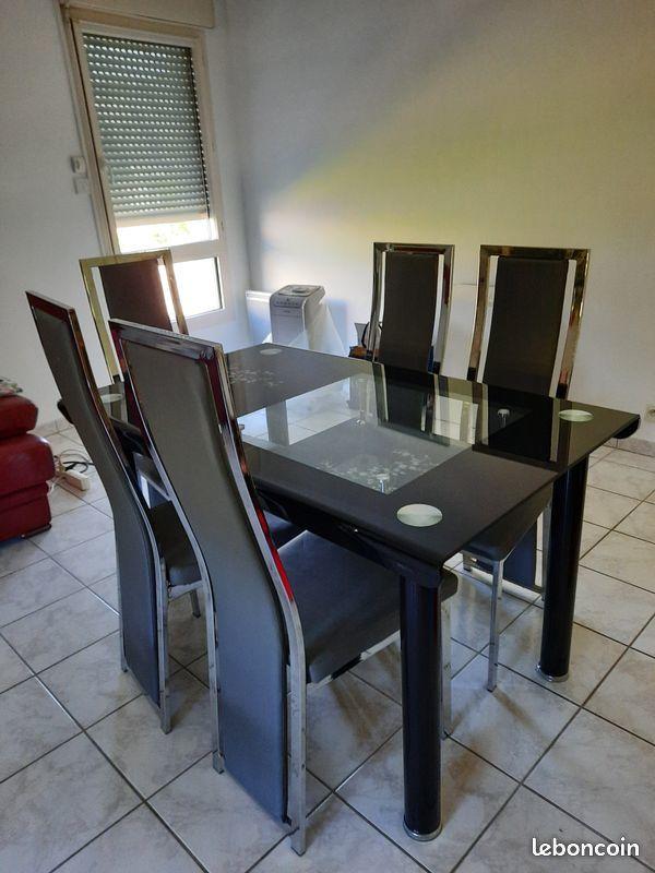 table en verre et 6 chaises Meubles