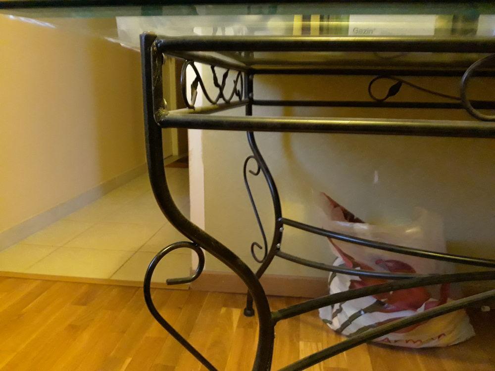 Table en verre et fer + demi-lune + 6 chaises assorties  350 Sainte-Sigolène (43)