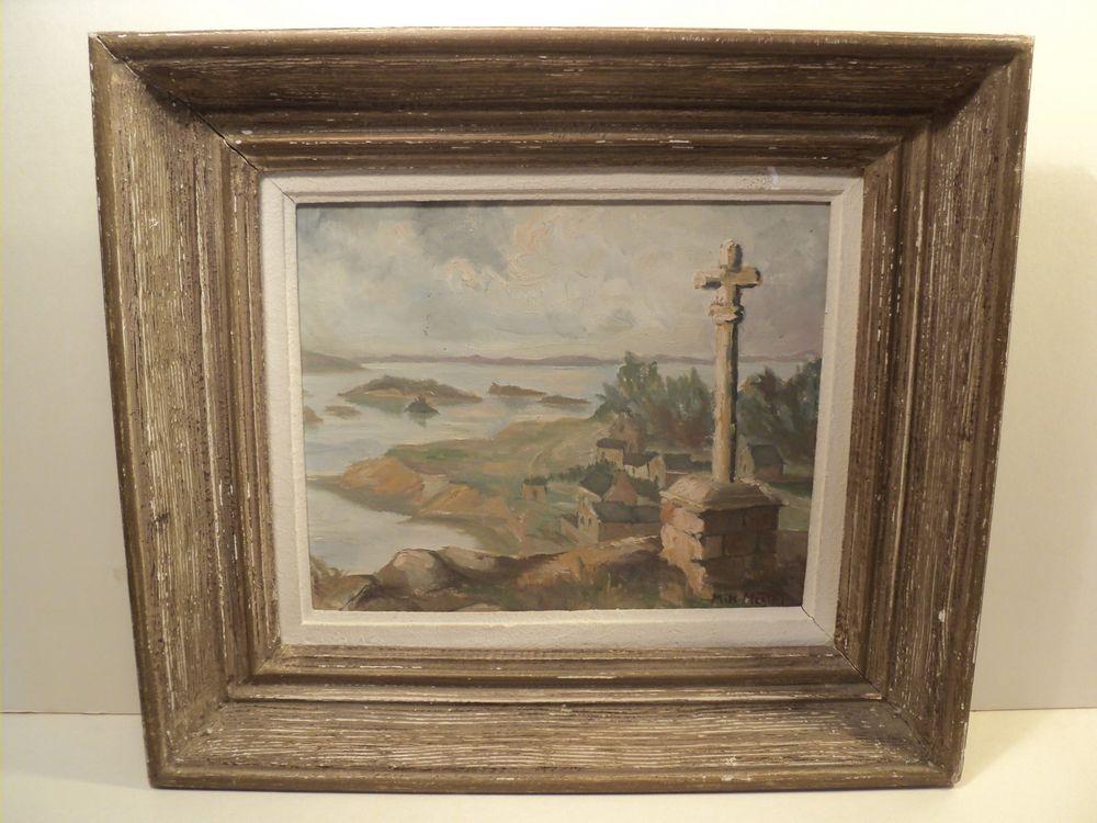 Tableau Ancien Bréhat Loguivy Croix Saint-Michel Signé 1960 90 Île-de-Bréhat (22)