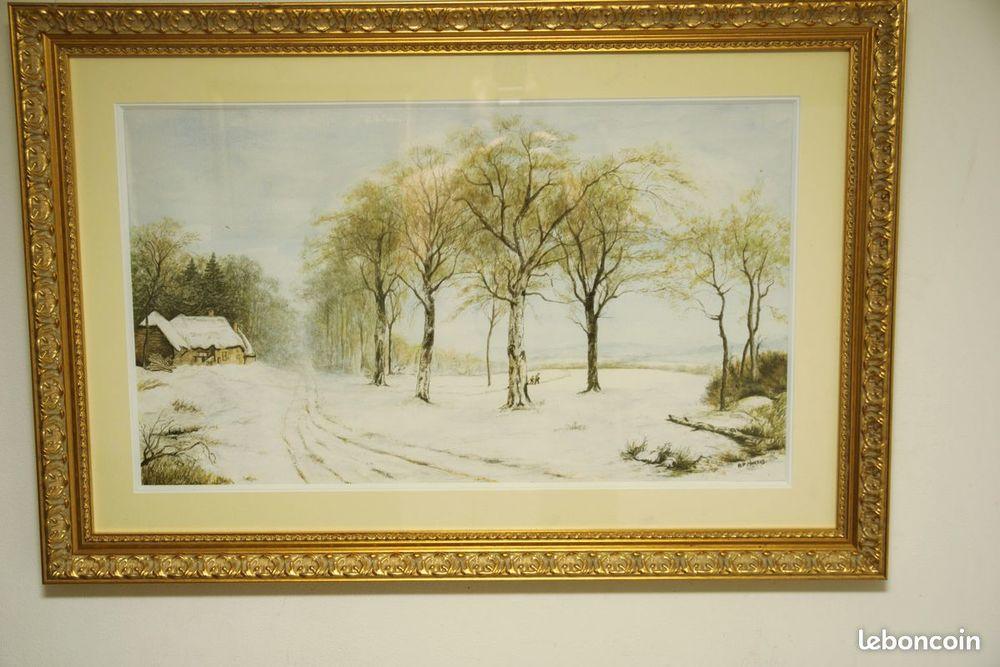 Tableau Aquarelle: Paysage sous la neige 140 Paris 14 (75)
