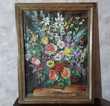 Tableau bouquet de fleurs - Peinture toile - Très bon état