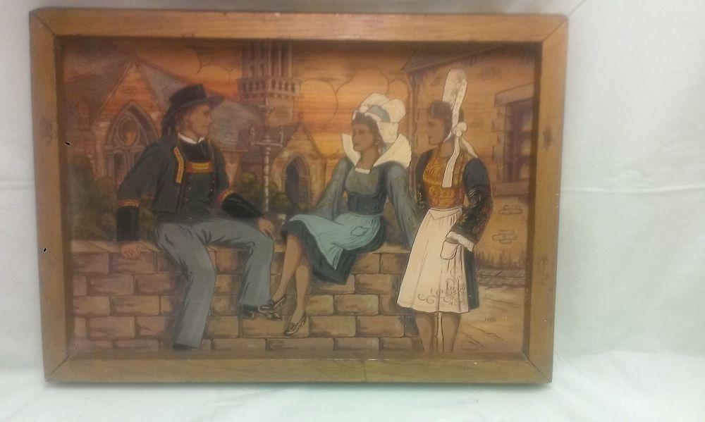 Tableau breton pyrogravé sur bois et peint 25 Cahors (46)