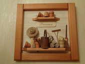 Tableau-cadre provençal artisanal en relief, poterie et bois 25 Orsay (91)