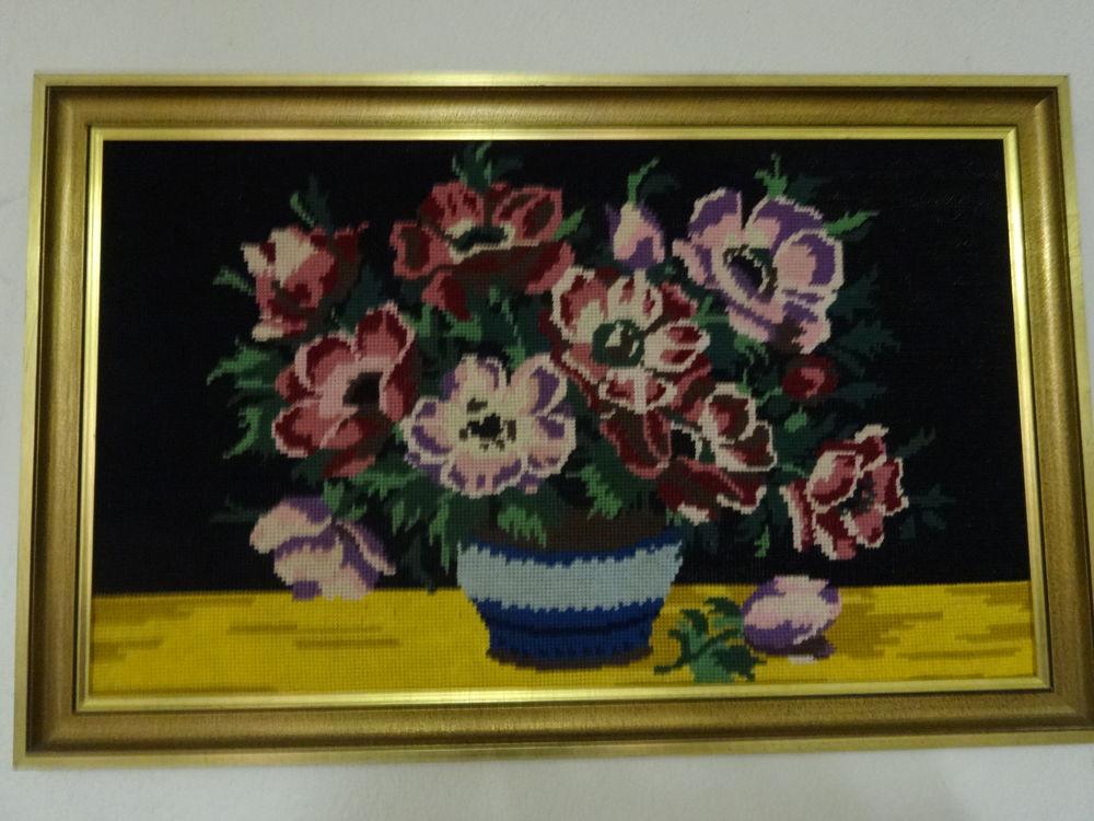 tableau canevas avec vase et bouquet de fleurs 10 Trignac (44)