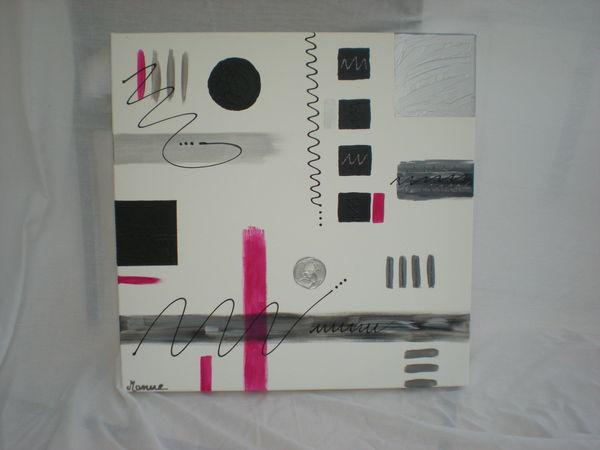 Achetez tableau contemporain unique collector annonce vente mercurol 26 - Tableau gris et rose ...