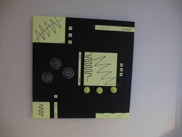 Tableau contemporain noir, vert anis (peint à la main)