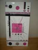 TABLEAU CONTEMPORAIN rose, blanc,noir (FAIT MAIN) 49 Valence (26)