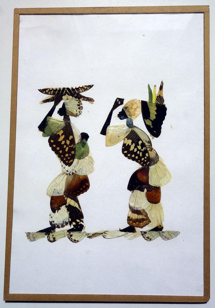 Tableau, dessin + ailes de papillons 8 Villemomble (93)