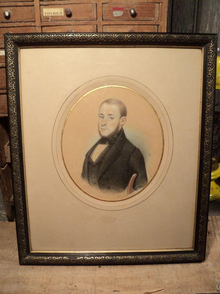 Tableau Dessin Pastel Portrait d'Homme Louis Philippe XIXème 140 Paris 16 (75)
