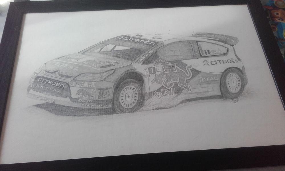 Tableau dessin de la voiture de Sébastien Loeb  1 Yvetot (76)