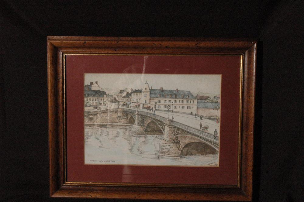 tableau encadré plume  aquarelle COMPIEGNE hôteL DE FLANDRE 60 Étreux (02)