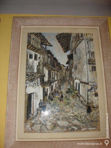 Tableau gouache papier rue de Madrid par X.LAMARQU 1800 Béziers (34)