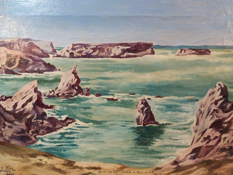 Tableau Marine Baie de Goulphar Belle-Ile-en-Mer Signé 1961 70 Locmaria (56)