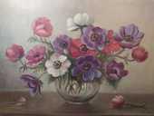 Tableau Nature Morte Bouquet de Fleurs Anémones  90 Loches (37)
