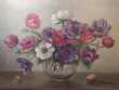 Tableau Nature Morte Bouquet de Fleurs Anémones  Loches (37)