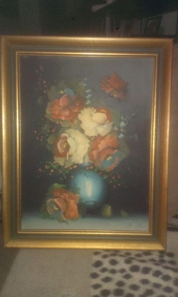 Tableau nature morte fleur signé 1 Cahors (46)