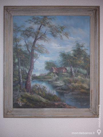 Tableau paysage maison rivière forêt Décoration
