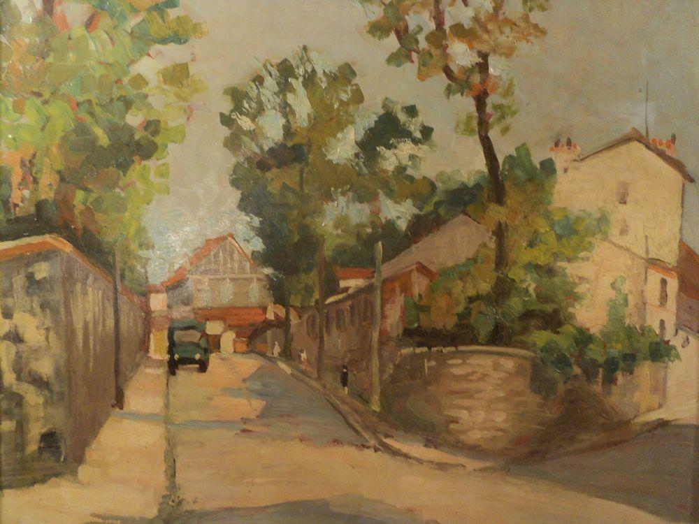 Tableau Paysage Rue Village Automobile Peintre à identifier. 160 Paris 1 (75)