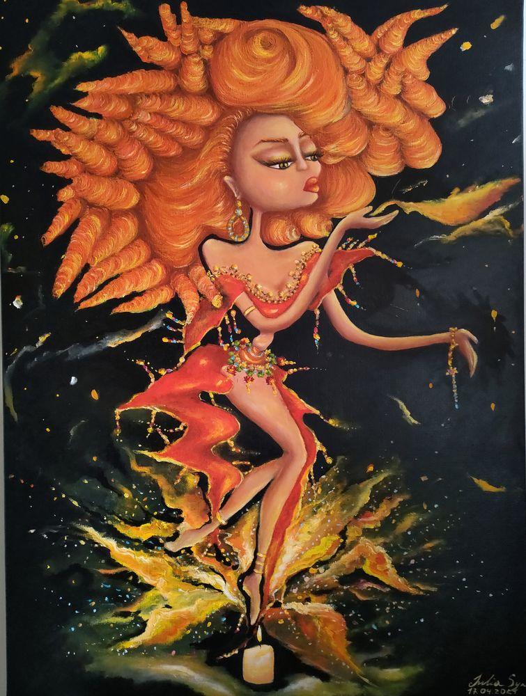 Tableau peinture fantastique Flamme 2700 Châtenay-Malabry (92)