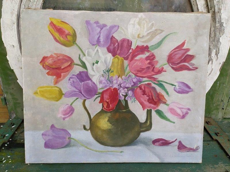 Tableau Peinture Nature Morte Bouquet de Tulipes Signé  180 Paris 1 (75)