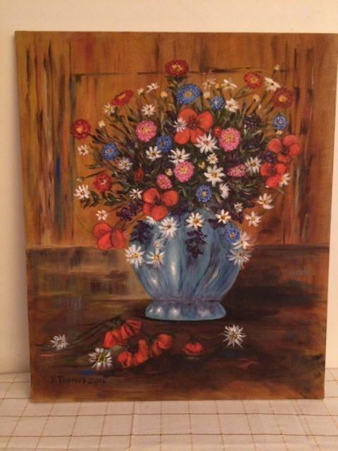 Tableau peinture sur toile Bouquet fleurs Décoration